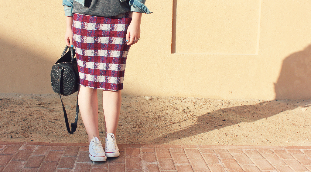 Topshop check tube skirt