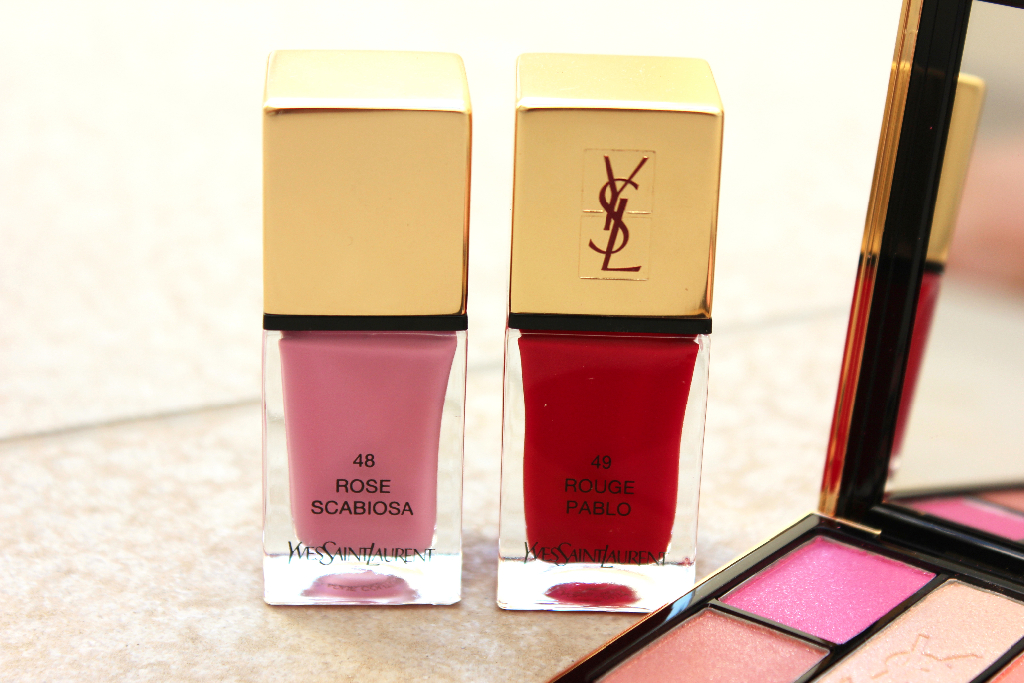 YSL 48 Rose Scabiosa 49 Rouge Pablo